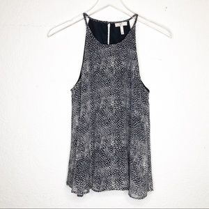 Joie | Black & White Silk High Neck Tank Sz S